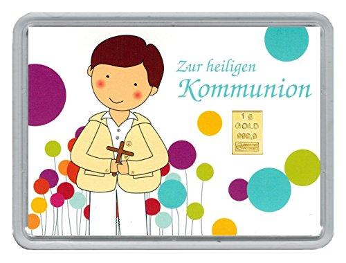 """1g Goldbarren 999,9 Feingold in Motivbox """"Zur heiligen Kommunion Junge"""""""