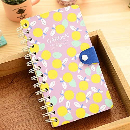 Mittsommer Kreative Knöpfe Schnalle Farbe Seiten Spule Notizbuch Mode Tagebuch Agenda Notizbuch 240 Innenseiten 10x18cm B -