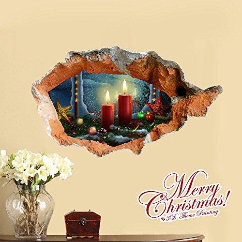 Weihnachtskerzen kreative stereoskopische 3D-Bilder gemalt Wohnzimmer Schlafzimmer Kinderzimmer Dekoration modernen Karikatur Malerei -59 * 99cm Weihnachtsgeschenk