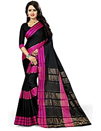 Leriya Fashion Women's Cotton Silk Saree With Blouse Piece (Sarees For Women-Abp, Black, Free Size)