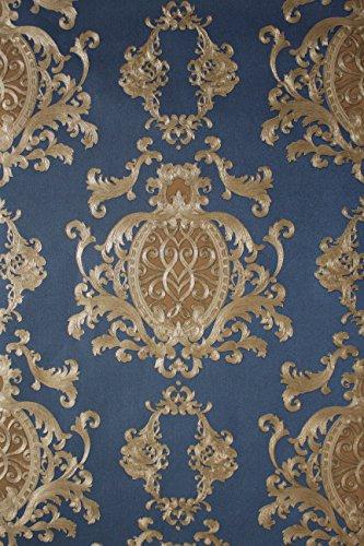 Vinyltapete Tapete Barock Retro # blau/silber/beige # Kingwelson # 510607