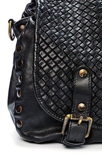 Ira del Valle, Borsa Donna, In Vera Pelle, Vintage, Modello Texas, Made in Italy nero