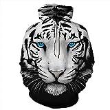 JOJO Weihnachten Hoodie Sweater/White Tiger Pattern/Sport Sweater Hood/Herbst / Party Geschenke,M