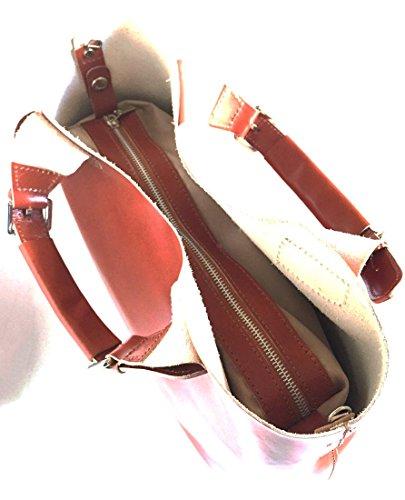 SUPERFLYBAGS Borsa Shopper a Mano o a Spalla in Vera Pelle Liscia e Lucida modello Barbara 2 in 1 made in Italy cognac