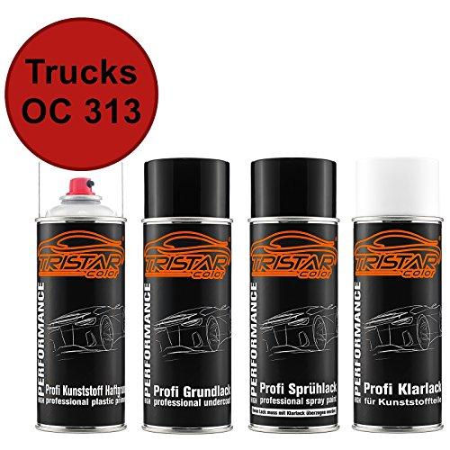 TRISTARcolor Autolack Spraydosen Set für Kunststoff Stoßstange Trucks OC 313 Iveco Rosso Haftgrund Grundlack Basislack Klarlack mit Weichmacher Sprühdose