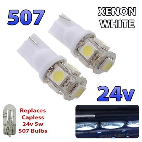 2x Blanc 24V sans capuchon Hella spot 507501W5W 5SMD T10Wedge ampoules Camion de poids lourds