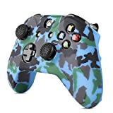TNP Silicone Gel Controller Skin Set for Xbox One S / Xbox - Soft Rubber Grip Protective Case Cover & Anti-Slip Thumbstick Caps for Microsoft Xbox One S / Xbox Wireless Gaming Gamepad (Camo Blue)