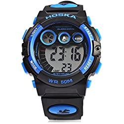 Leopard Shop HOSKA H002B Children LED Digital Watch Day Chronograph LED Sports Water Resistance Wristwatch Blue Black