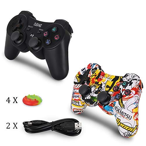 OUBANG 2 Pack PS3 Controller Wireless, Dual Vibration Sixaxis Gamepad Joystick für Sony PS, Dual Vibration Sixaxis Gamepad Joystick für PS3 Playstation 3 …