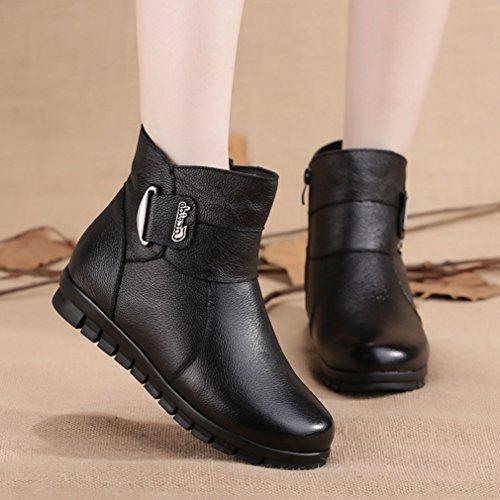 JRenok Femme Botte Neige Chaussure Motards Motards Boots Plateforme Noir