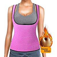 NHEIMA Faja Reductora Mujer Camisetas Sauna Adelgazantes para Mujer Chaleco de Neopreno Corset para Sudoración, Quema Grasa, Faja Abdomen (L, Rosado)