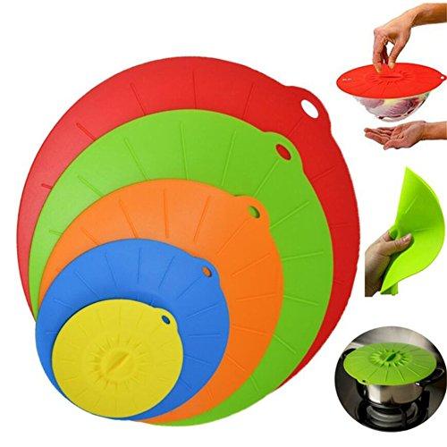 Silikon Saugnapf Deckel, 5Größen/Set bunt Mikrowelle Lebensmittel Schüssel Pfanne Cups Deckel, staubfrei, hitzebeständig, hygienischem Silikon Saugnapf Deckel, Kochtopf Splatter-Proof Food Covers