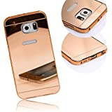 Xtra-Funky Range Samsung Galaxy S6 Ultra-Thin Aluminium Metal Frame Bumper with Shiny Mirror Back Panel hard case - Rose Gold