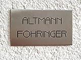 Edelstahl Namensschild/Türschild in Edelstahl gebürstet, 80x40 mm, Selbstklebend Oder mit Zwei Seitlichen Bohrungen zur Schraubmontage Lieferbar