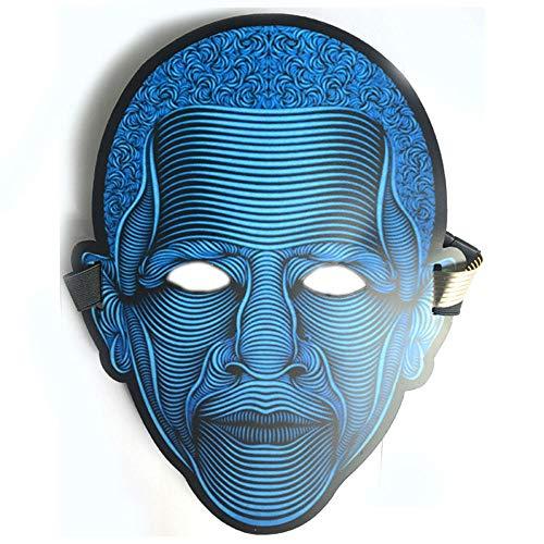 2-Teiliges Set 25Cm × 28Cm, LED-Lichtsteuerung, Leuchtmaske, Halloween-Maske, Glasierte Oberfläche, Einstellbare Sprachsteuerung (Wechsel Mit Musikrhythmus),F