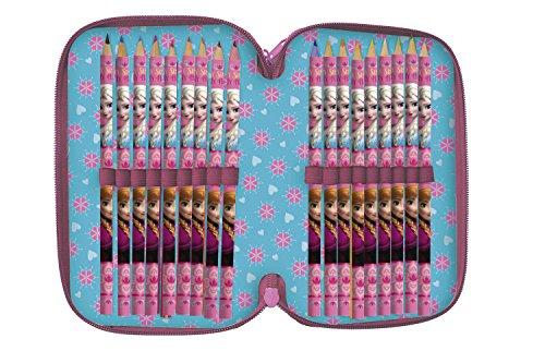 Arditex–wd9575–Plumier con relleno (3compartimentos, 13x 20x 7cm–44piezas–Elsa DE FROZEN