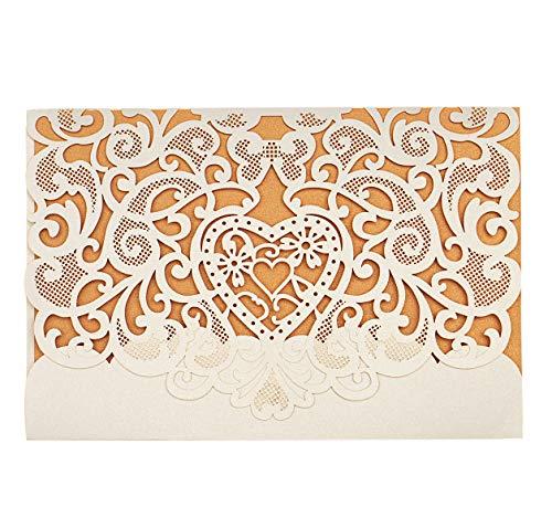 LONGBLE Hochzeit EinladungsKarten Glückwunsch Einladung Karten, 20 Stück Elegante Blume Spitze 3 in 1 [ Hohle Hülse + Leere Karte + Umschlag ] Hochzeitskarten - auch Für Geburtstag/Taufe