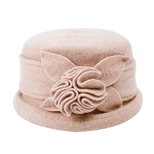 FQG*Mme automne et l'hiver laine chapeau coiffures de mode petit chapeau élégant fleurs élégantes bérets rouges , noir Tous Beige