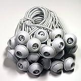 50 Stück Set Gummischlaufen Spanngummis zum Befestigen von Planen - Zeltgummis Expanderschlingen Bungees Spanner Planenspanner für Partyzelt Pavillon Zelt - weiß, lang