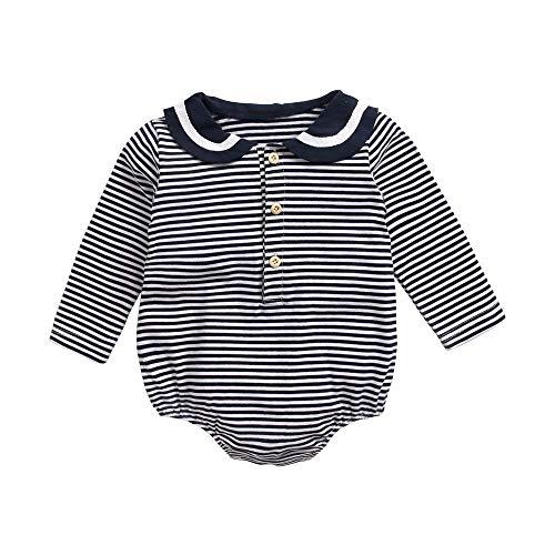Sanlutoz Coton Barboteuse pour Bébé Filles Nouveau née Onesie Jumpsuit Fille Hiver Barboteuse Bodys (12-18 mois/80cm, BRW8161-NV)