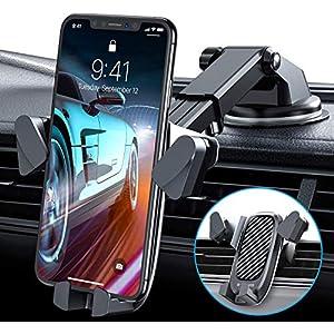 VANMASS Handyhalterung Auto【Automatisch Klemmen 】 Handyhalter fürs Auto 3in1 Armaturenbrett/Lüftungsschlitz Kfz Handy Halterung Universal für Handys wie iPhone 11 Pro Samsung Galaxy S20+ matt schwarz