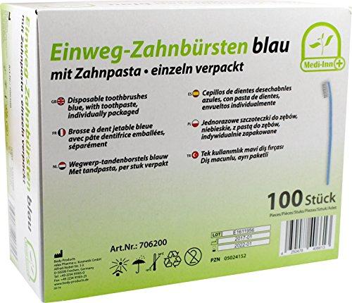 Einwegzahnbürsten Einmalzahnbürsten mit Zahnpasta 100 Stück Reisezahnbürste von Medi-Inn Farbe blau PZN 05024152