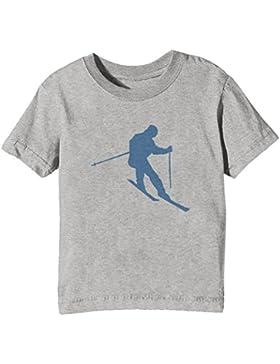 Esquiar Niños Unisexo Niño Niña Camiseta Cuello Redondo Gris Manga Corta Todos Los Tamaños Kids Unisex Boys Girls...