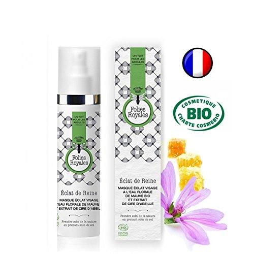 Masque Visage Bio Hydratant à l'Eau Florale de Mauve et Cire d'abeille - Confort Souplesse Peau Douce et Éclatante - 50 ml