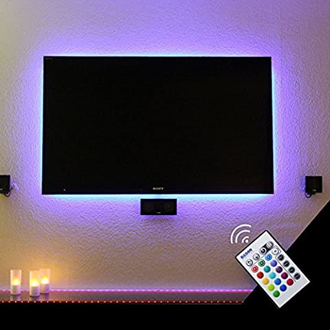 "BASON LIGHTING Ruban à LED Lights for 47-50"" Flat HDTV USB Powered Backlight Bias RGB Lighting with TV Dimmable Remote Control Home Theater Lighting Kits"