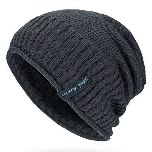 Kuyou Beanie Mütze Wintermütze in Grobstrick mit weichem Fleece Futter Mütze (Grau)