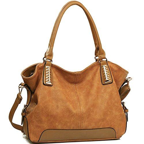 JOYSON Handtaschen Damen Hobo Taschen PU Leder Schultertaschen Große Umhängetaschen Shopper Damen Henkeltaschen (L:34cm * H:15cm * W:30cm) Gelb