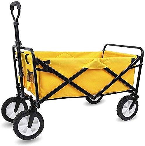 Xkcjtcfcarrelli pieghevoli con ruote richiudibili pesanti dutyydolly con ruote freno, 60 kg / 132 libbre di capacità, b: giallo