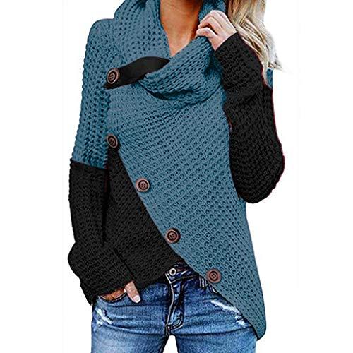 OSYARD Damen Sweatshirt Pullover Cardigan, Frauen Langarm Solid Tops Bluse Shirt Asymmetrisch Rollkragen Tunika Hemd Einfarbig Oberteile Strickpullove Pulli Herbst Winter Warme Sweater