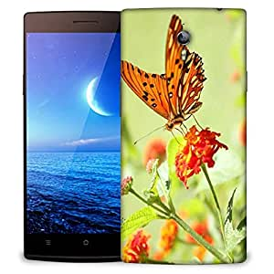 Snoogg Orange Butterfly Designer Protective Phone Back Case Cover For Oppo Find 7