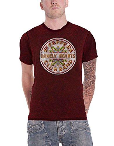 The Beatles T Shirt Sgt Pepper Drum Nue Offiziell Herren Rot 2tone Burnout (Beatles-rotes Vinyl)