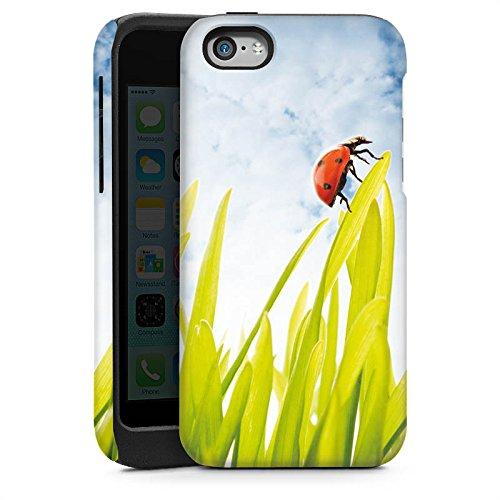 Apple iPhone 5s Housse Étui Protection Coque Brin d'herbe Coccinelle Ciel Cas Tough brillant