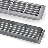 1 Paar Lüftungsgitter Silber 449 x 80 x 15 mm Doppelseitig Schlitzlochung Schlitzgitter Abdeckung von SO-TECH®