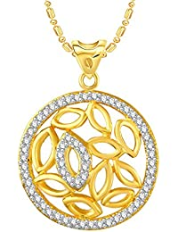 VK Jewels Circle Of Life Gold And Rhodium Plated Alloy CZ American Diamond Pendant With Chain For Women [VKP2702G]