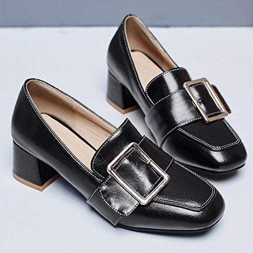 COOLCEPT Femme Mode Boucle Plat Brogues Escarpins Normal Ecole Chaussures Grand Tailles Noir