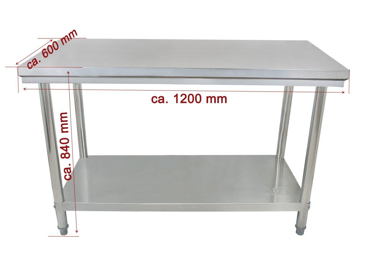 Beeketal 'BA-Serie' Gastronomie Edelstahl Arbeitstisch 100-200 cm, Tische bis 170 kg belastbar (verstärkte Ausführung), Profi Gastro Küchentisch mit justierbaren Stellfüßen 3