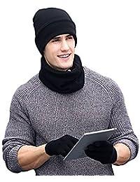 MIMINUO Sombreros de punto Bufanda Guante de Pantalla Táctil de Invierno Cálido 3 Unidades Set para Hombres Mujeres cálido regalo de navidad