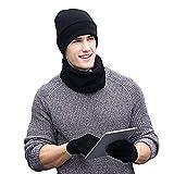 MIMINUO Herren Mütze, Schal & Handschuh-Set Schwarz Schwarz One Size