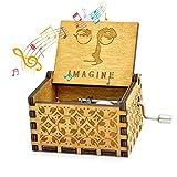 Womdee Carillon Imagine Tema, Carillon in Legno Classico con Manovella, Meccanismo a 18 Note Antico Intagliato Scatola Musicale Regali per Bambini/Amici/Adulti