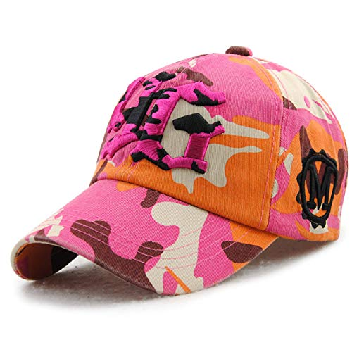 Unisex Baumwolle Baseball Cap Sonnenhut Visier Brief Bestickt Headwear Sport Cap Trucker Hut for Outdoor Sports Golf Camping Reisen G9634 Hut (Color : Rose, Size : One Size) Rose Trucker Hut