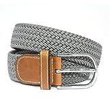 Elastica Cintura uomo cinghia intrecciata pelle flessibile quotidiano Cintura fibbia in metallo 115-120cm di Jeracol