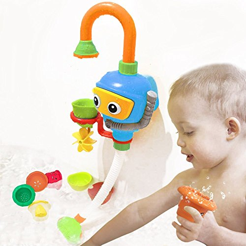 WISHTIME Kinder Wasser Dusche Badespielzeug - Badewanne Brunnen Spielzeug 3 Stackable and Nesting Cups,Submarines and Spout Wasserspielzeug für Kleinkind