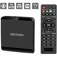 Android TV Box Zoetouch Smart TV Box Quad-Core mit 1 GB RAM + 8 GB ROM, Wifi 2,4 Ghz, Unterstützung 1080p/4K Full HD TV Box