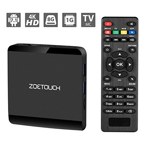 Android TV Box 7.1.2 Zoetouch Smart TV Box Quad-Core mit 1 GB RAM + 8 GB ROM, Wifi 2,4 Ghz, Unterstützung 1080p / 4K Full HD TV Box