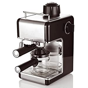 Cookspace ® 4-Cup Steam Espresso & Cappuccino, Latte Maker, Stainless Steel Coffee Maker Machine 800W 3.5bar, Black