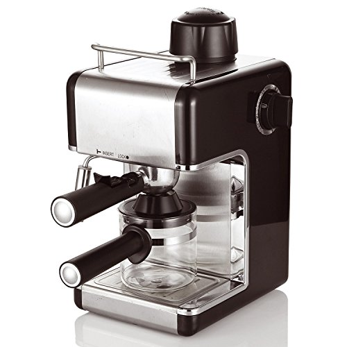 Cookspace ® 4-Cup Steam Espresso & Cappuccino, Latte Maker, Stainless Steel Coffee Maker Machine 800W 3.5bar, Black 51uin9xTUYL